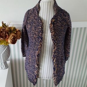 Anthropologie Sparrow Fringe Blue Gold Cardigan XS